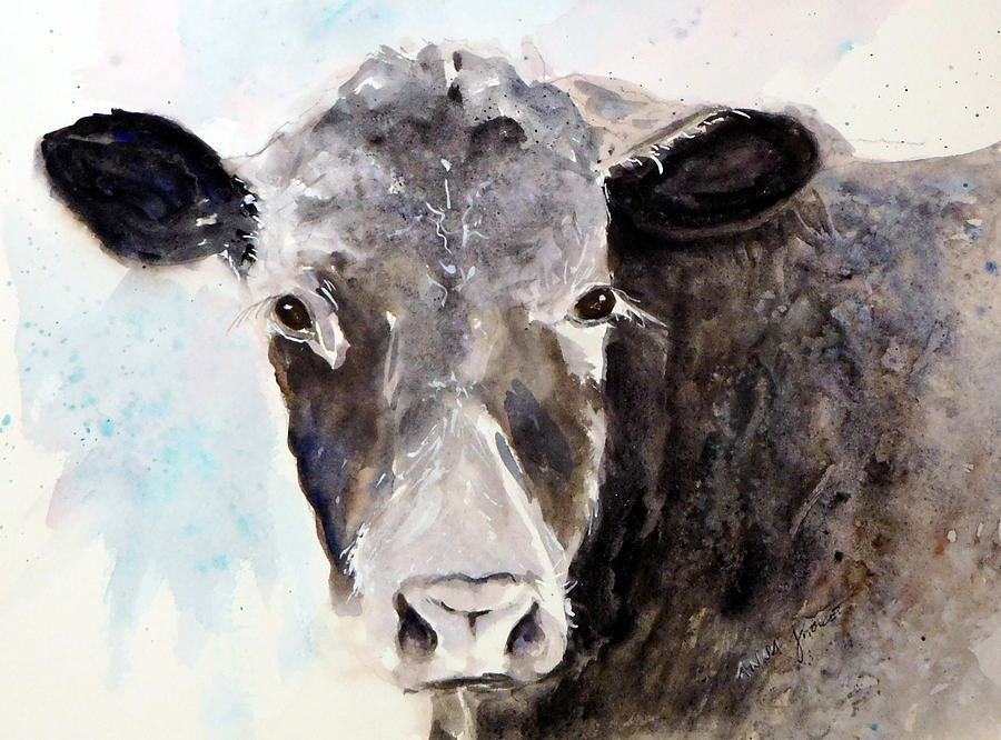 Baby Cow Painting - Young Bruno - Mud Face by Anna Jacke