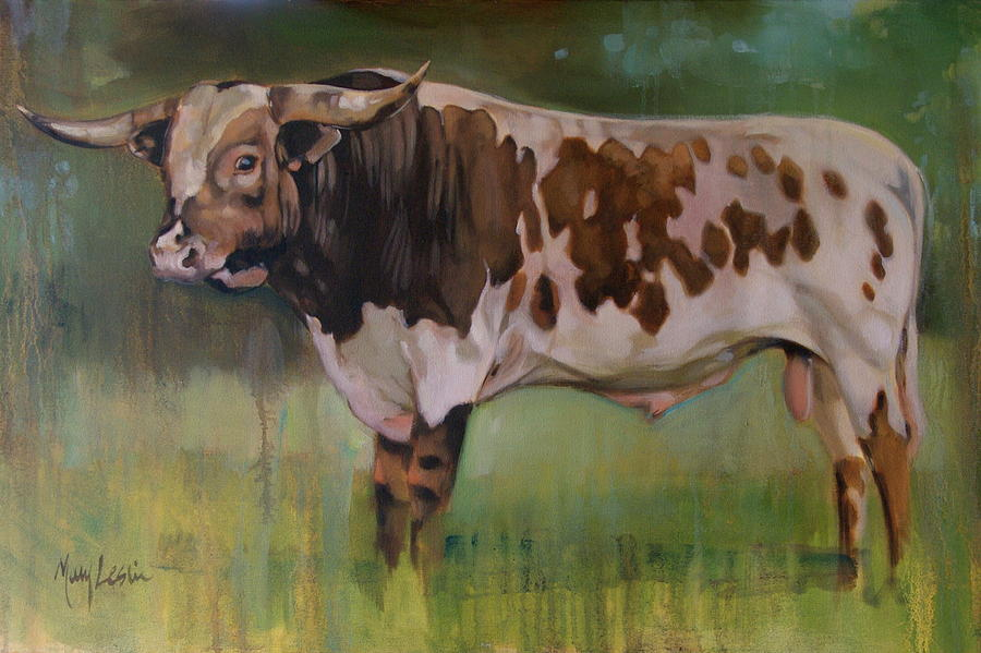 Cow Painting Painting - Young Bull by Mary Leslie
