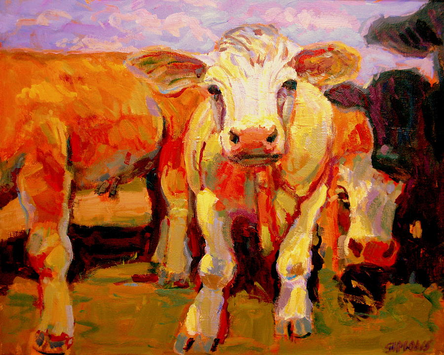 Cows Painting - Young Cow by Brian Simons