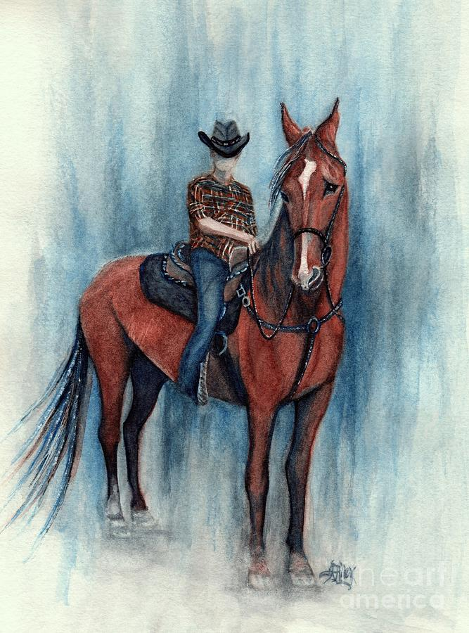 ART PRINT Watercolor Painting of Cowboy Riding a Horse FREE shipping