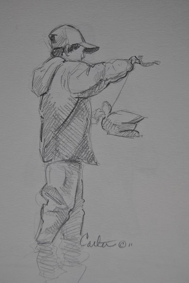 Sketch Drawing - Young Duck Hunter Sketch. by Calvin Carter