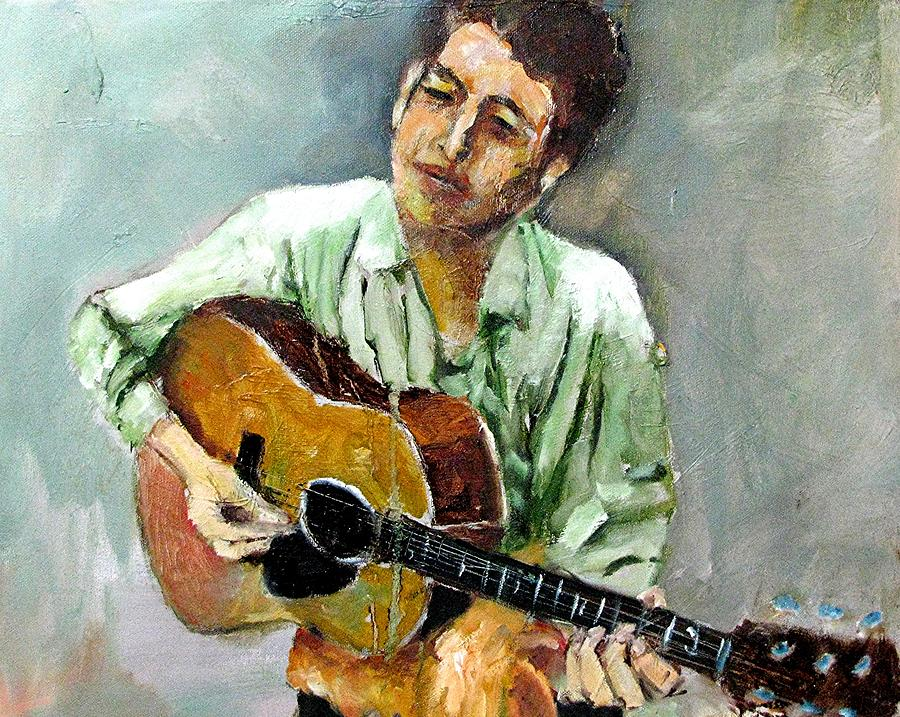 Musicians Bob Dylan Painting - Young Dylan 1 by Udi Peled