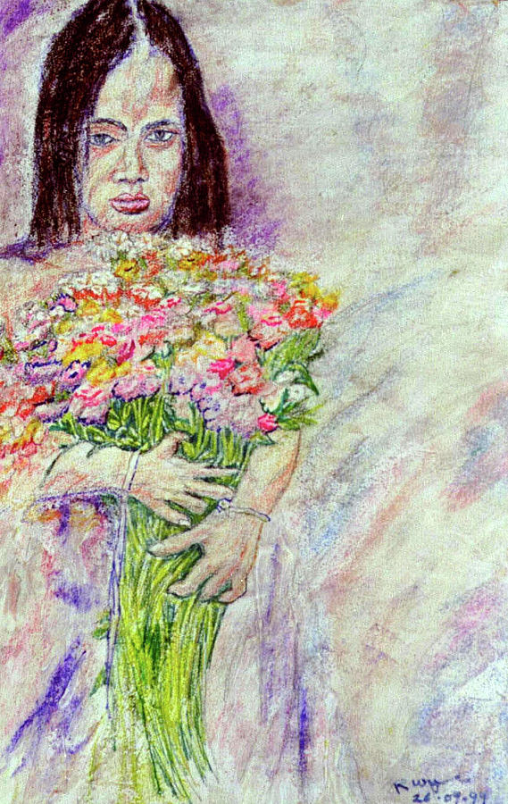 Pastels Painting - Young Flower Girl by Richard Wynne
