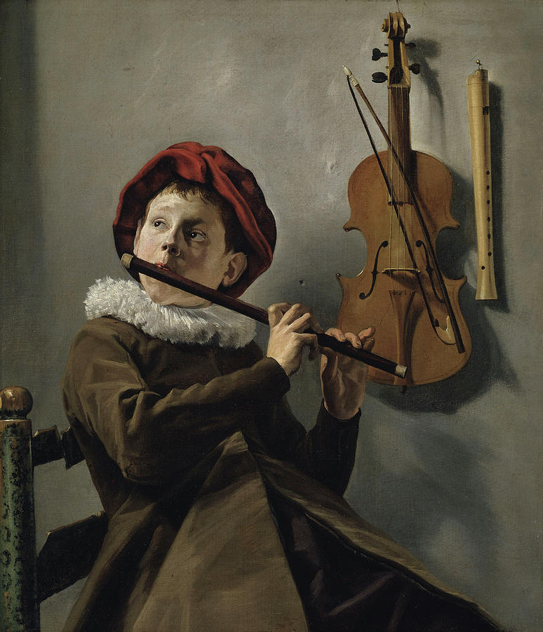 Man Painting - Young Flute Player , Judith Leyster, 1630 by Judith Leyster