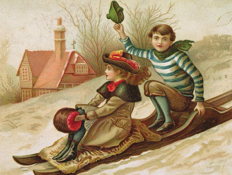 sledge painting young girl and boy tobogganing victorian christmas and new year card by