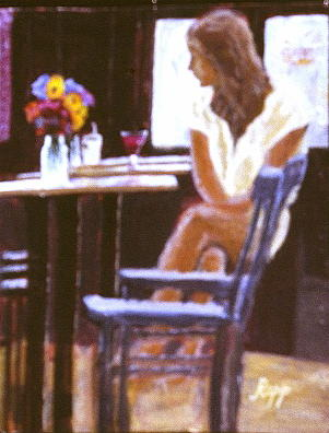 Girl Painting - Young Girl In The Bar by Jan Rapp