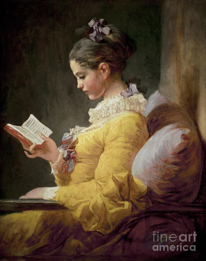 Young Painting - Young Girl Reading by JeanHonore Fragonard