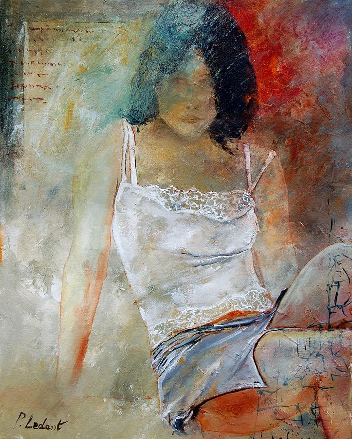 Nude Painting - Young Girl Sitting by Pol Ledent