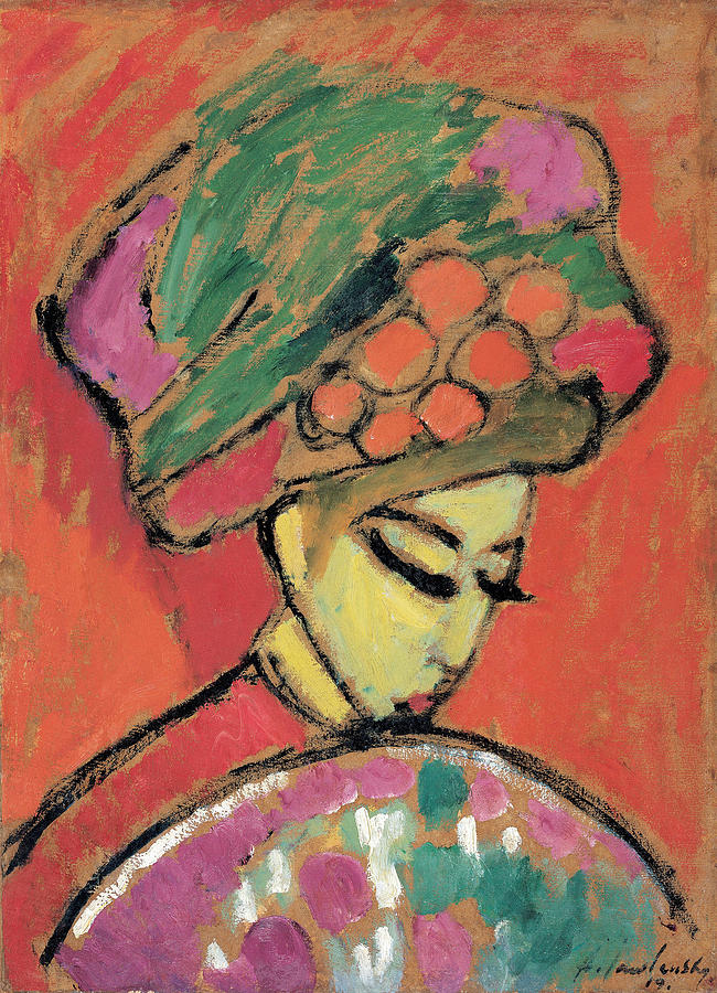 Girl Painting - Young Girl With A Flowered Hat By Alexei Jawlensky by Alexei Jawlensky
