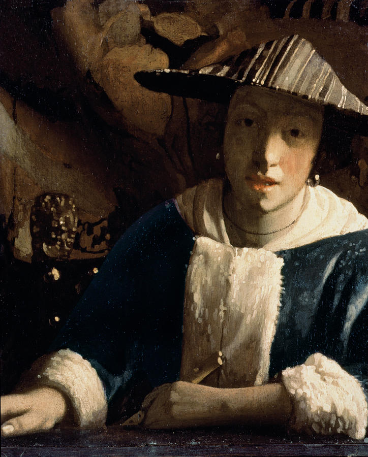 Vermeer Painting - Young Girl With A Flute by Jan Vermeer