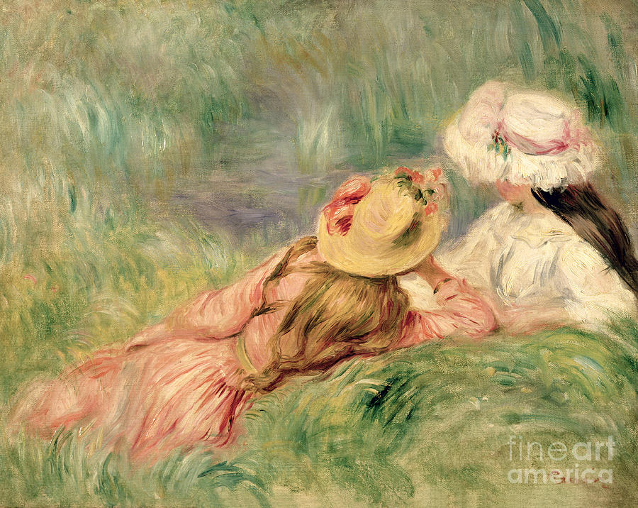 Young Painting - Young Girls On The River Bank by Pierre Auguste Renoir