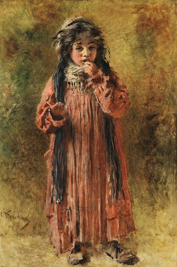 Girl Painting - Young Gypsy By Konstantin Makovsky by Konstantin Makovsky