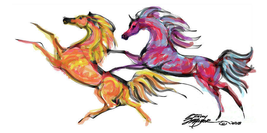 Equine Art Prints Digital Art - Young Horses Playing by Stacey Mayer