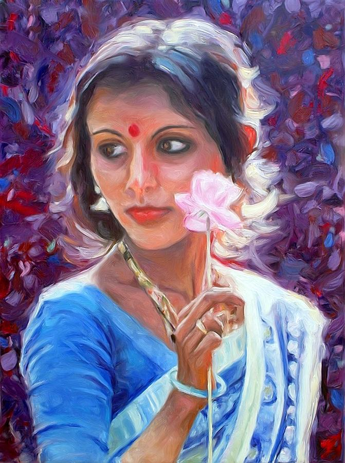 Young Indian Woman With Paper Flower