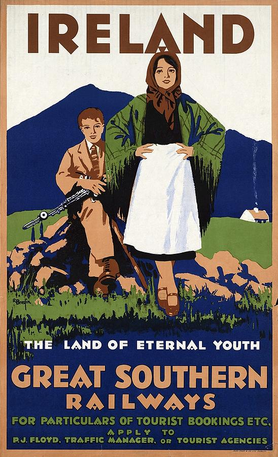 Ireland Painting - Young Irish girl and boy on a meadow - Countryside - Vintage Travel Poster by Studio Grafiikka