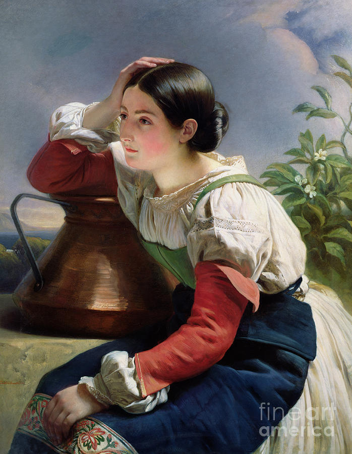 Young Painting - Young Italian At The Well by Franz Xaver Winterhalter