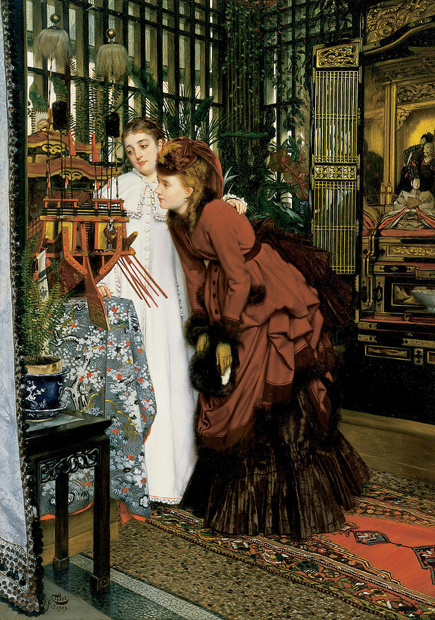 James Jacques Joseph Tissot Painting - Young Ladies Looking at Japanese Objects by James Jacques Joseph Tissot