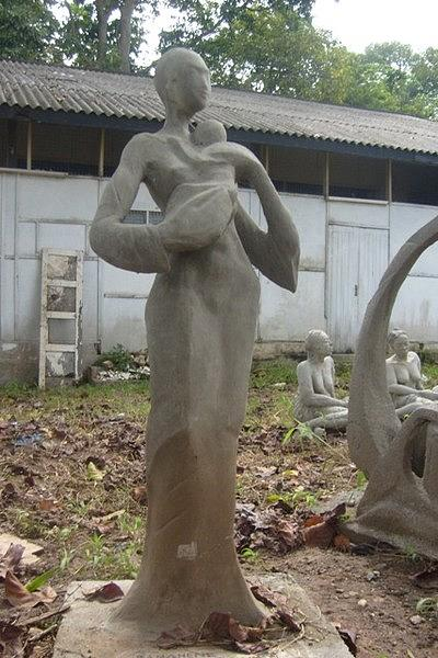Expressionism Sculpture - Young Maid by Sylvester Banahene