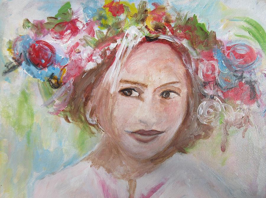Girl Painting - Ukrainian Girl With Flowers by Denice Palanuk Wilson