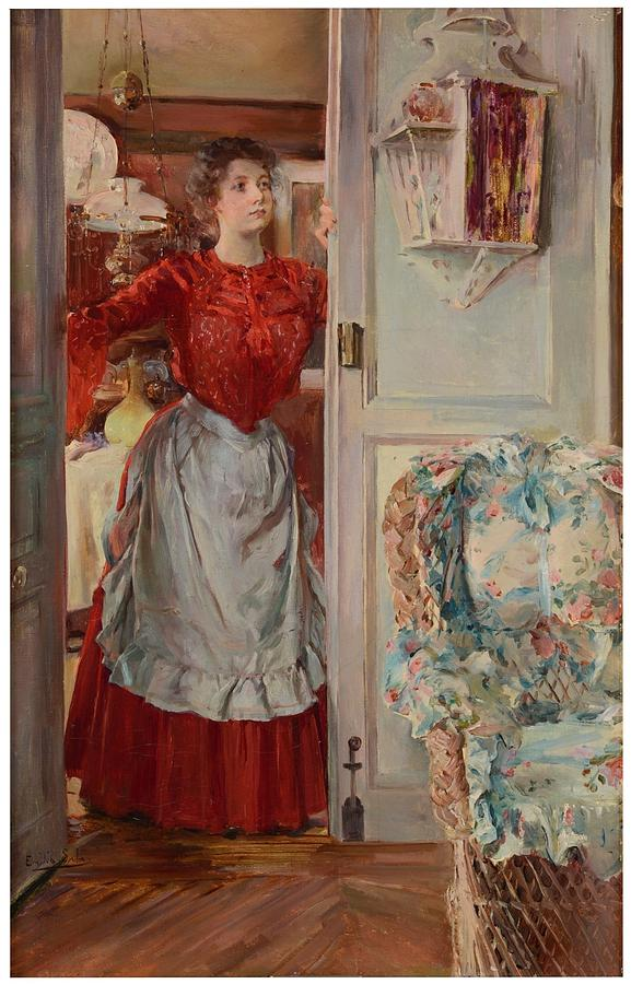 Girl Painting - Young Man On A Door French Room, Emilio by Emilio