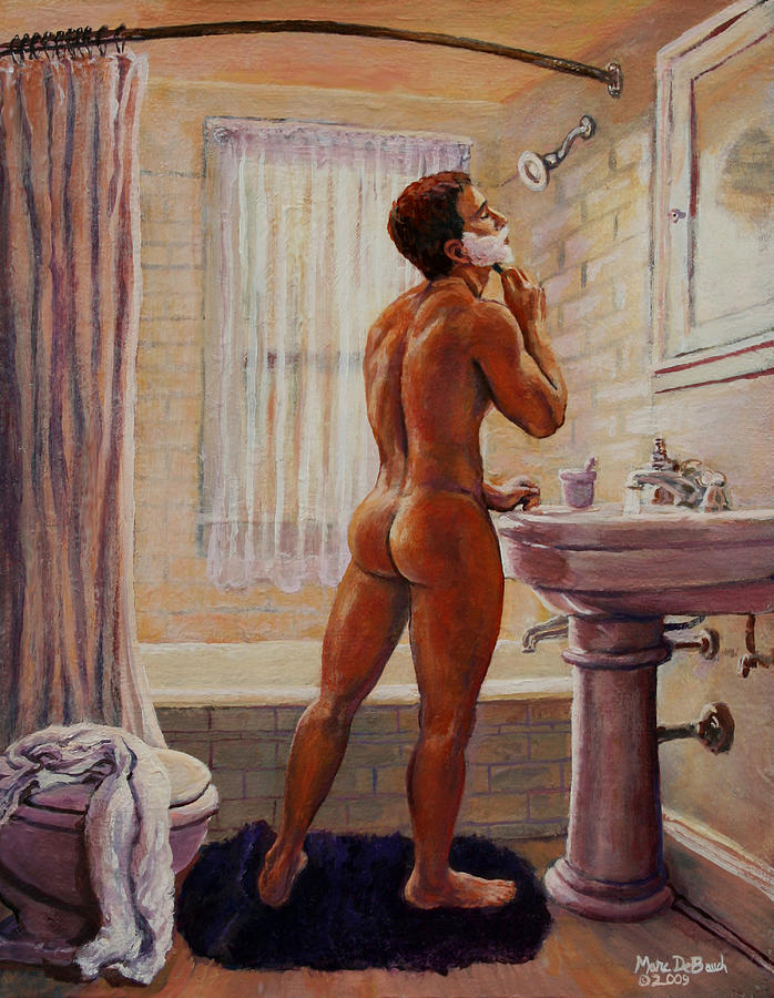 Bathroom Painting - Young Man Shaving by Marc DeBauch