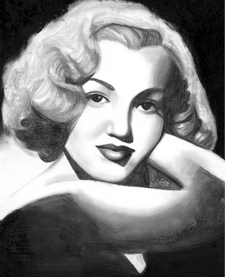 Portrait Drawing - Young Marilyn by Scarlett Royal