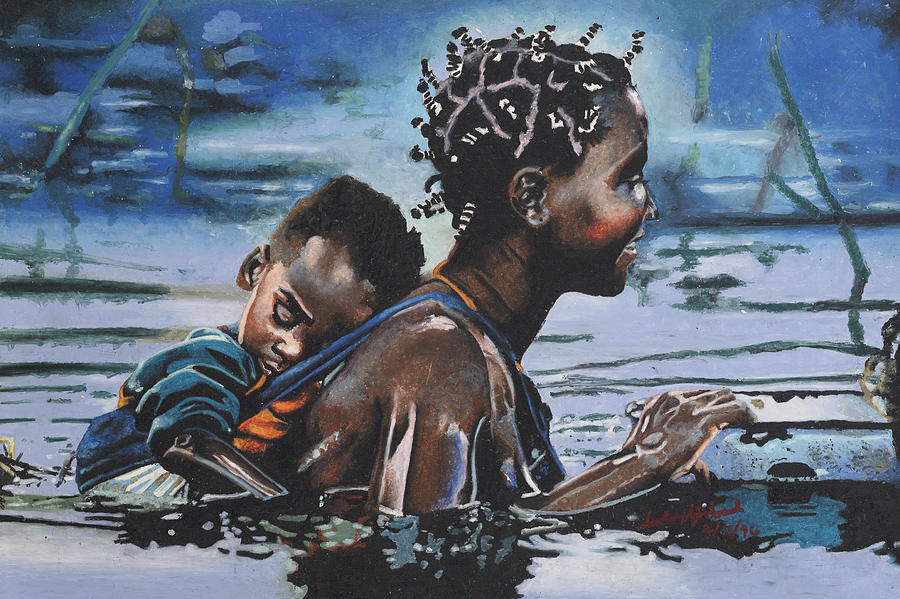 Blue Painting - Young Mother And Child by Andre Ajibade