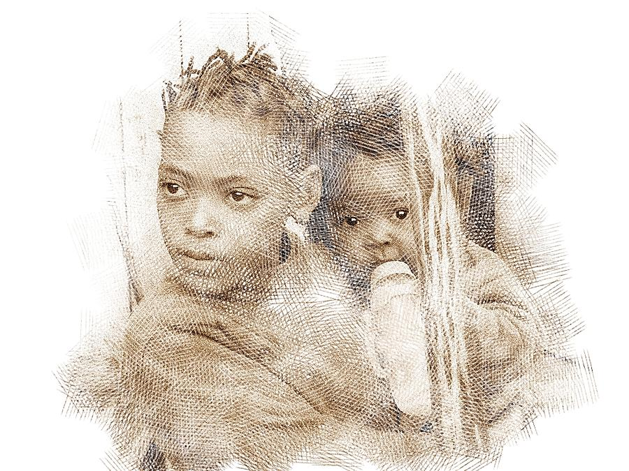 Sketch Digital Art - Young Mother by Jan Hattingh