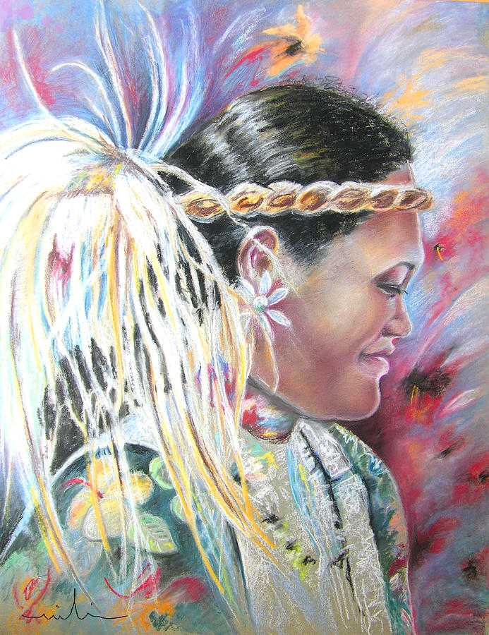 French Polynesia Painting - Young Polynesian Mama by Miki De Goodaboom