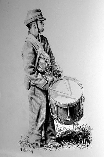 Young Reb Drummer Drawing by William Hay