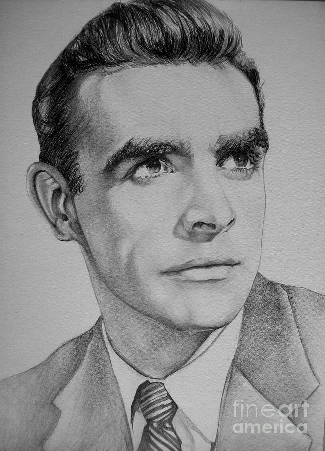 Young Sean Connery Drawing By Jeffrey Samuels