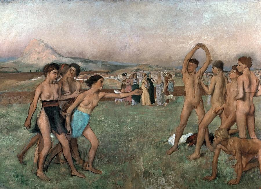Young Spartans Exercising Painting - Young Spartans Exercising by Edgar Degas