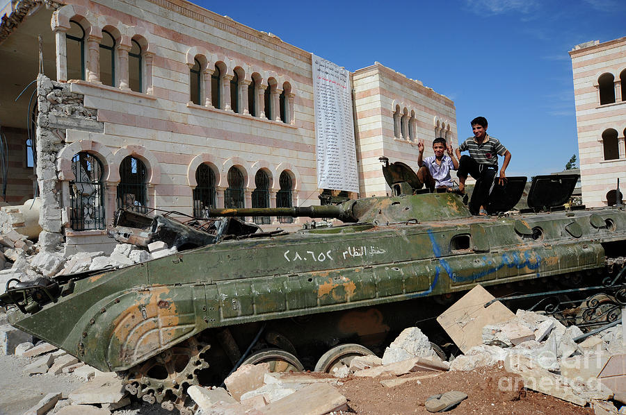 Free Syrian Army Photograph - Young Syrian Boys On Top by Andrew Chittock