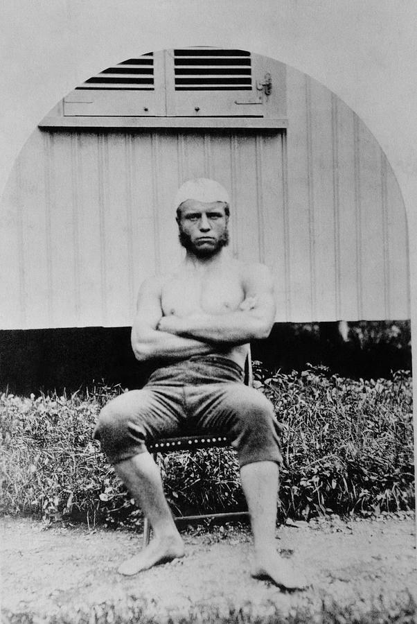 President Roosevelt Photograph - Young Teddy Roosevelt Shirtless - 1879 by War Is Hell Store