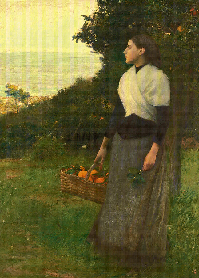 Canvas Prints Painting - Young Woman In A Garden Of Oranges by Pascal-Adolphe-Jean Dagnan-Bouveret