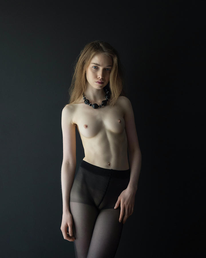 Nude Photograph - Young Woman in Front of Black Wall by Michael Maximillian Hermansen
