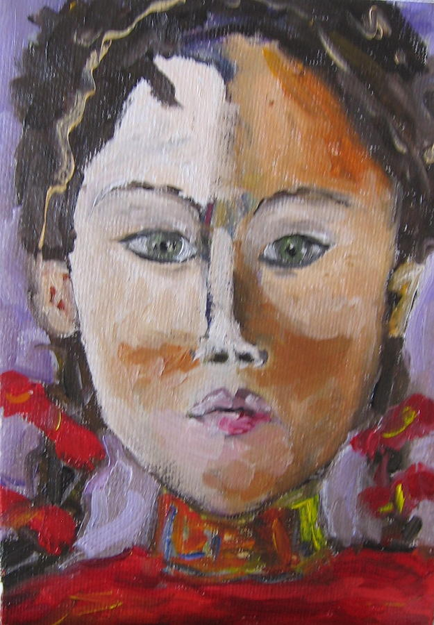 Figurative Painting - Young Woman In Red by Debi McSwain