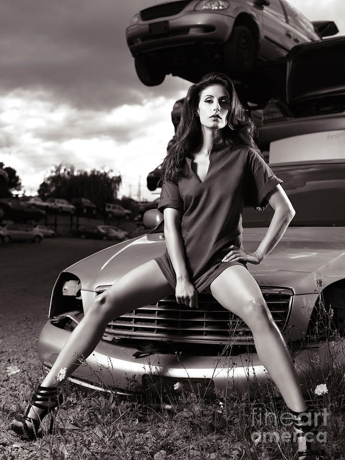 Glamour Photograph - Young Woman Sitting On A Crashed Car by Oleksiy Maksymenko
