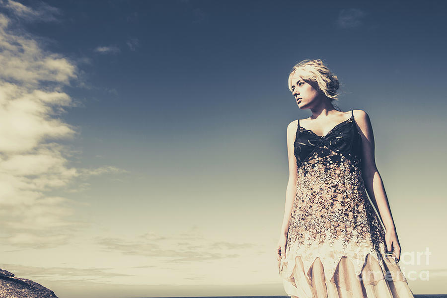 Female Photograph - Young Woman Standing On The Beach by Jorgo Photography - Wall Art Gallery