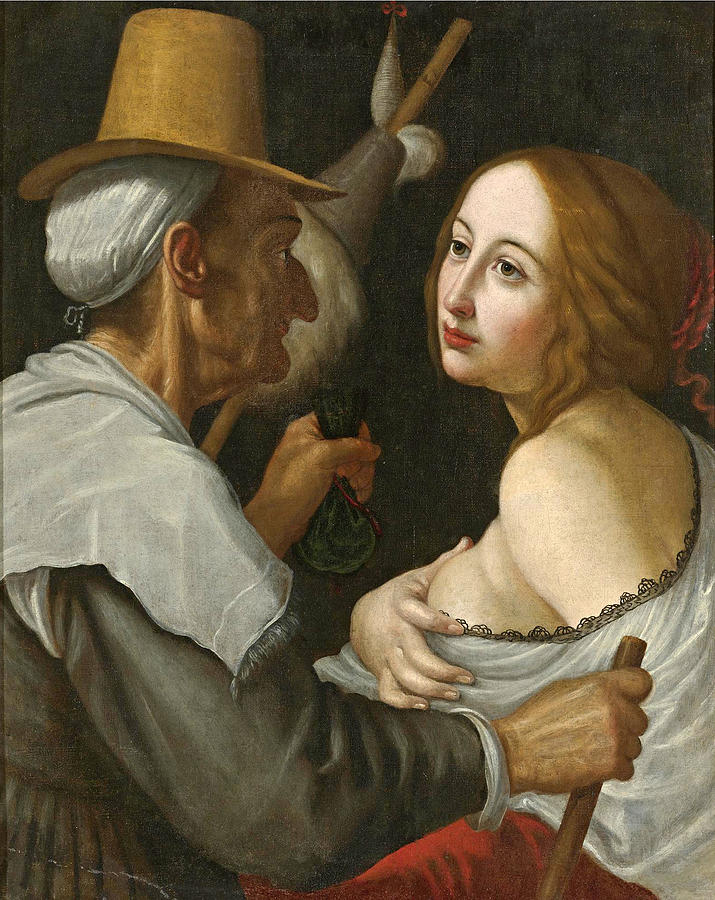 Dandini Painting - Young Woman With A Fortune Teller by Studio of Cesare Dandini