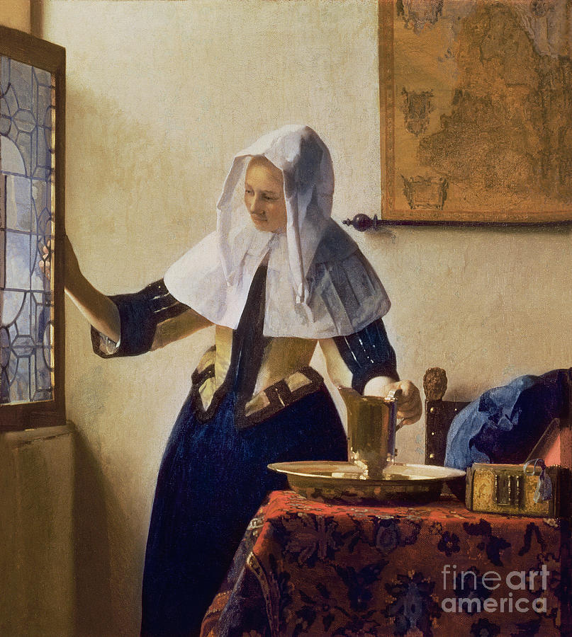 Young Painting - Young Woman With A Water Jug by Jan Vermeer
