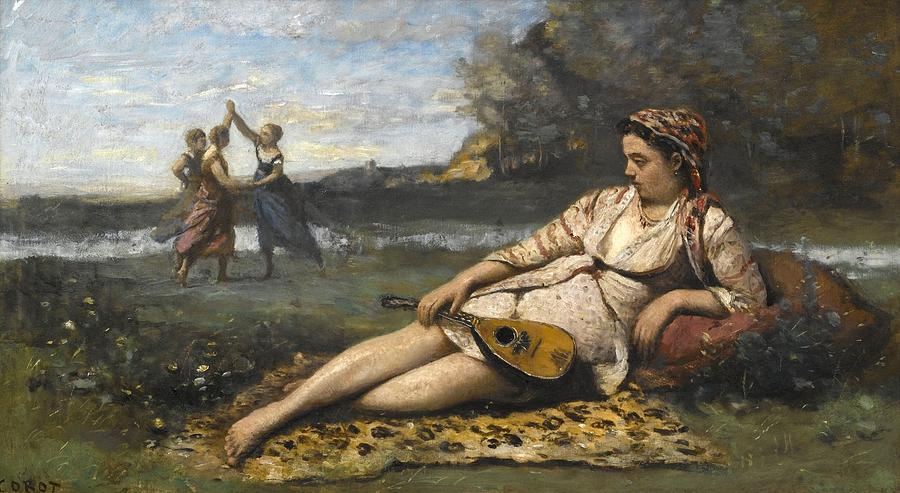 Girl Painting - Young Women Of Sparta By Jean-baptiste-camille Corot, 1868-1870. by ean-Baptiste-Camille Corot