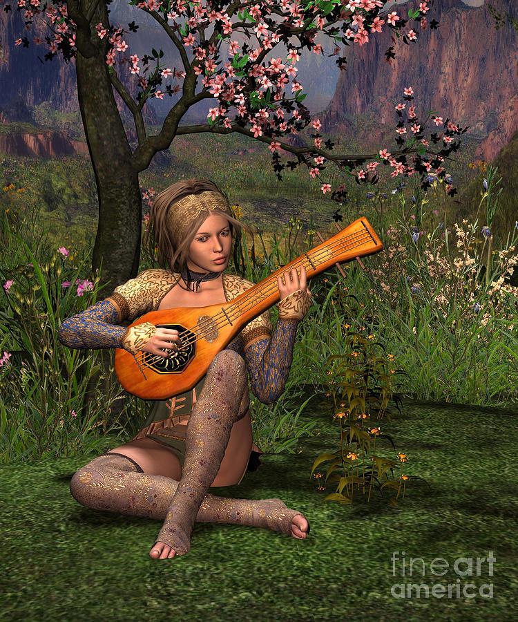 Fanast Digital Art - Young Women Playing The Lute by John Junek