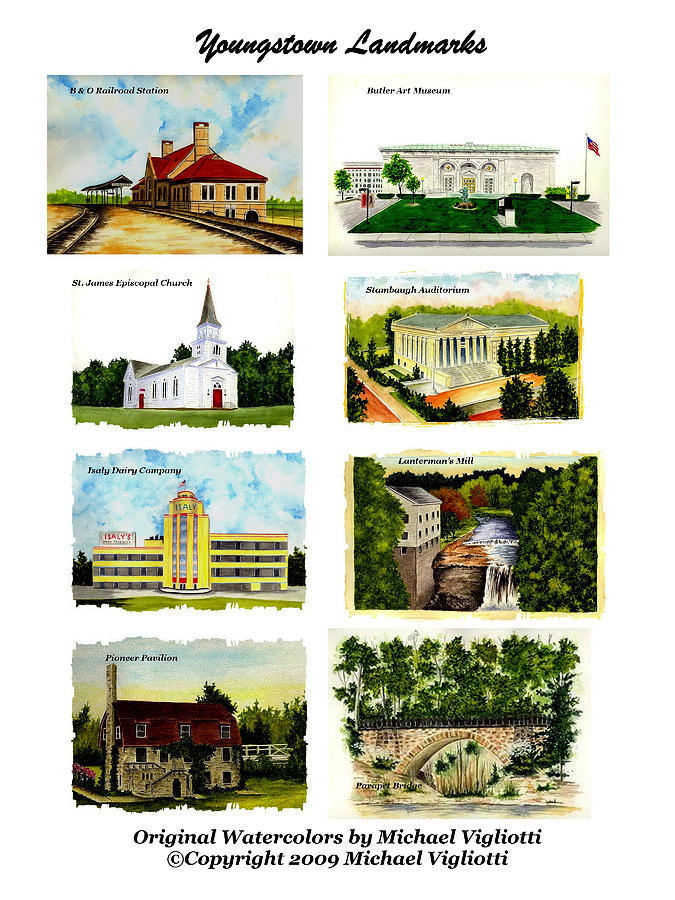 Youngstown Painting - Youngstown Landmarks Montage 1 by Michael Vigliotti