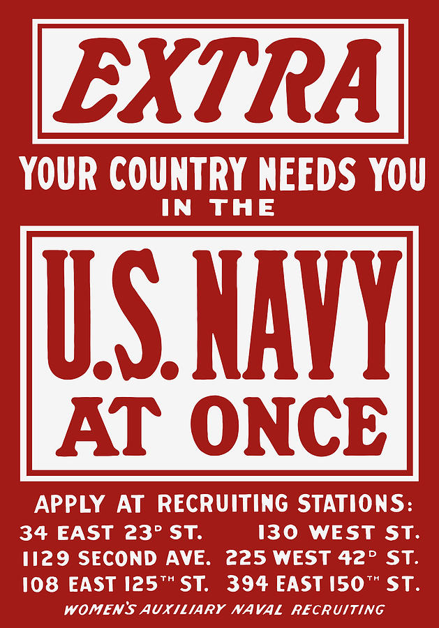 Ww2 Painting - Your Country Needs You In The Us Navy by War Is Hell Store