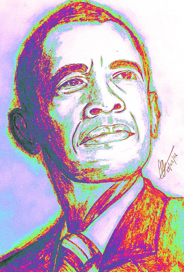 Obama Drawing - Your President  by Collin A Clarke