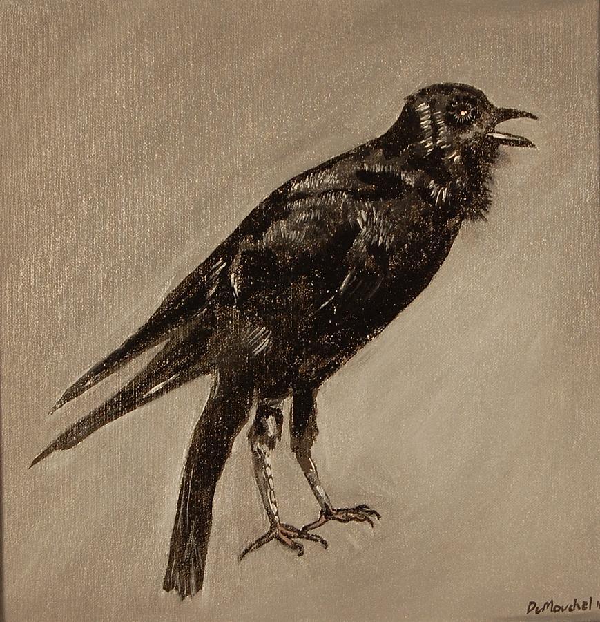 Bird Painting - Your Voice Is Just Noise In My Ear Austrailian Raven by Jason DuMouchel