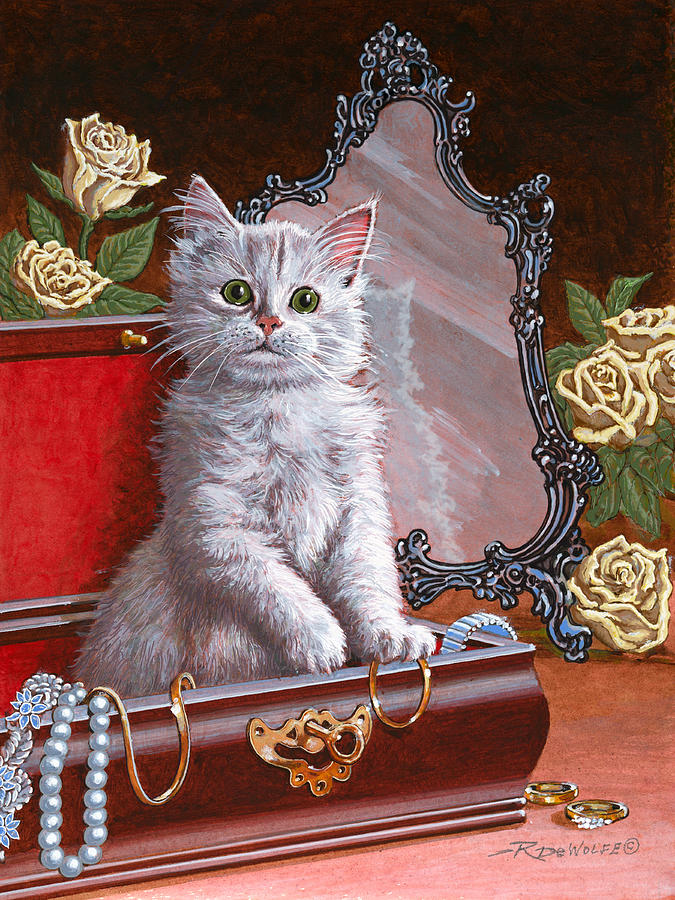 Kitten Painting - Youre Home Early by Richard De Wolfe