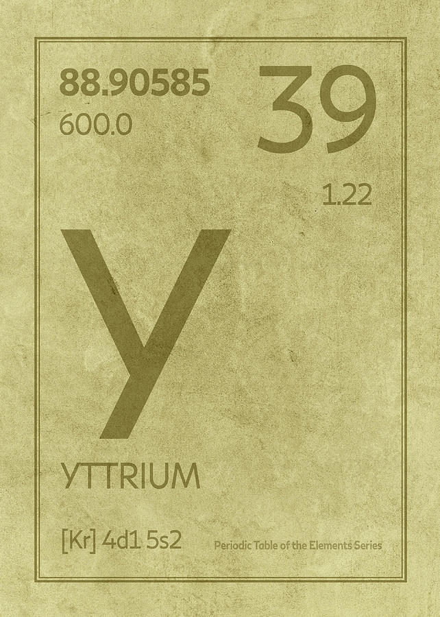 Yttrium Element Symbol Periodic Table Series 039 Mixed Media By