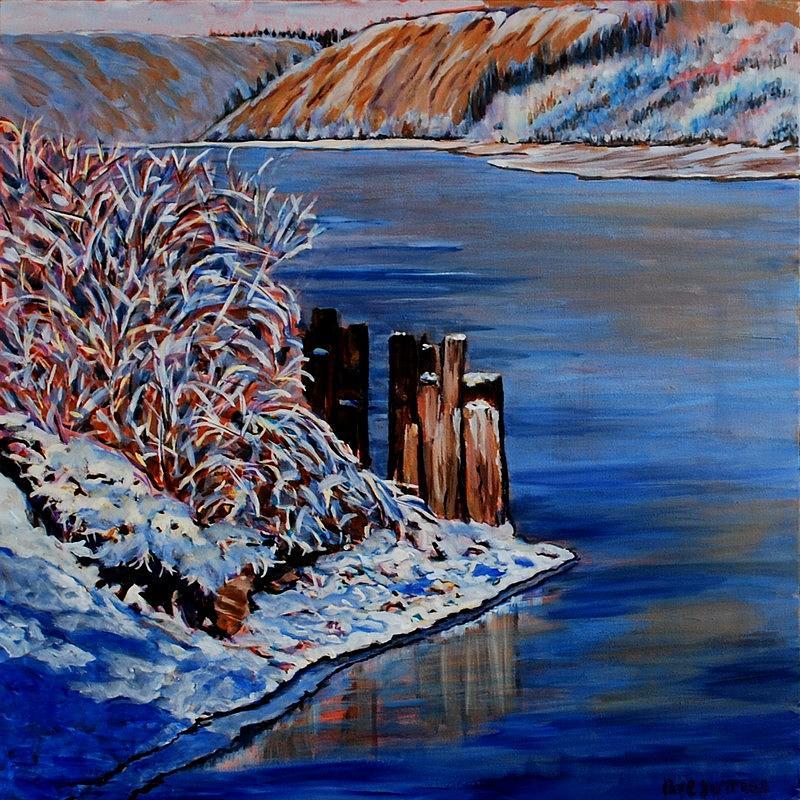 Yukon Painting - Yukon River Pilings by Faye Dietrich
